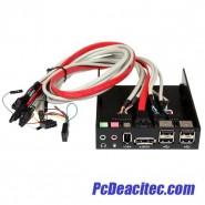 Panel Multipuertos para Bahía Frontal de 3.5 Pulgadas con Audio HD eSATA FireWire USB A